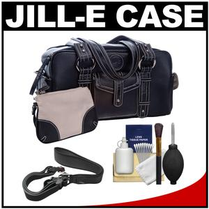 Jill-e Small Leather Digital SLR Camera Bag (Black) with Camera Strap + Accessory Kit