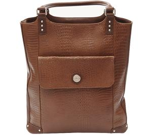 Jill-e E-GO Laptop/iPad/Tablet Tote Bag (Brown Croc Leather)