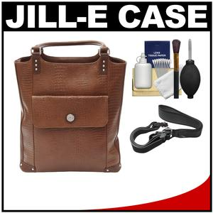 Jill-e E-GO Laptop/iPad/Tablet Tote Bag (Brown Croc Leather) with Camera Strap + Accessory Kit