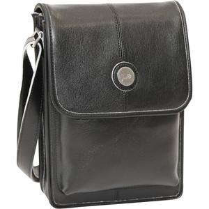 Jill-e E-GO Metro Tablet Bag-Black Leather with Silver Trim -