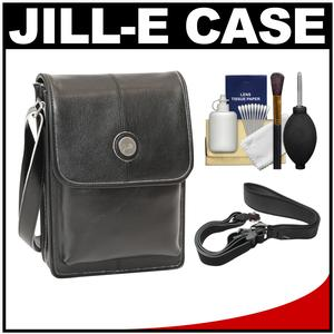 Jill-e E-GO Metro Tablet Bag - Black Leather with Silver Trim - with Camera Strap + Accessory Kit