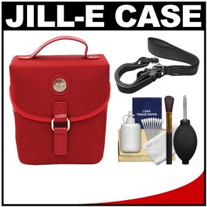 Jill-e Microfiber Snap DSLR Camera Case with Detachable Shoulder Strap - Red - with Camera Strap + Accessory Kit