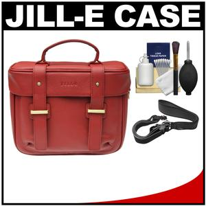 Jill-e Juliette All Leather DSLR Camera Bag (Red) with Camera Strap + Cleaning Kit