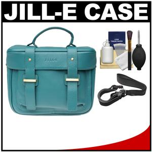 Jill-e Juliette All Leather DSLR Camera Bag - Teal - with Camera Strap + Cleaning Kit