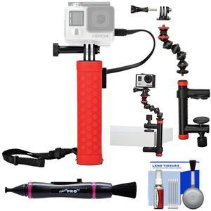 Joby Rechargeable Battery Hand Grip Monopod for Action Cameras and Smartphones with Clamp and GorillaPod Arm + Lenspen + Kit