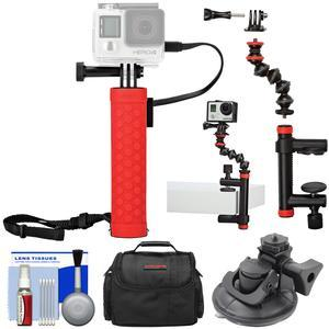 Joby Rechargeable Battery Hand Grip Monopod for Action Cameras and Smartphones with Clamp and GorillaPod Arm + Suction Mount + Case + Kit