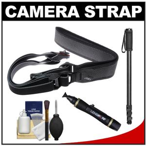 Joby UltraFit Sling Camera Strap for Women-Charcoal-with Monopod and Cleaning and Accessory Kit