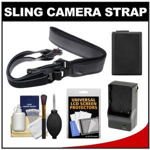 Joby UltraFit Sling Camera Strap for Women - Charcoal - with NP-FW50 Battery for Sony Alpha NEX-F3 NEX-3N NEX-5N NEX-5R NEX-6 NEX-7