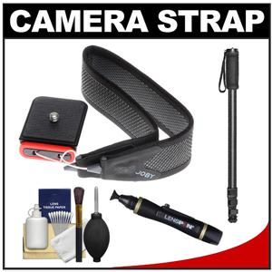 Joby 3-Way Shoulder-Neck-Wrist Camera Strap-Charcoal-with Monopod and Cleaning and Accessory Kit