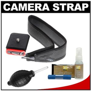 Joby 3-Way Shoulder/Neck/Wrist Camera Strap (Charcoal) with Nikon Cleaning Kit for Nikon 1 AW1  V3  J5  D3200  D3300  D5300  D5500  D7100  D7200