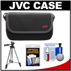 JVC CBV2013 Everio Video Camera Camcorder Case with Tripod + LCD Screen Protectors + Accessory Kit