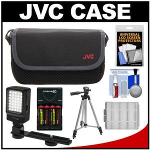 JVC CBV2013 Everio Video Camera Camcorder Case with LED Video Light and Batteries and Charger + Tripod + Accessory Kit