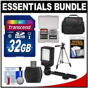 Essentials Bundle for JVC Everio GZ-R10 R30 R70 R320 R450 Video Camera Camcorder with LED Light + Case + Tripod + Accessory Kit