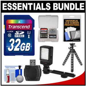 Essentials Bundle for JVC Everio GZ-R10 R30 R70 R320 R450 Video Camera Camcorder with LED Light + Case + Flex Tripod + Accessory Kit