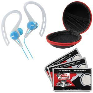 JVC HA-ECX20 Inner Ear Headphones - Blue - with Case and 3 Microfiber Cloths