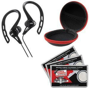 JVC HA-ECX20 Inner Ear Headphones - Black - with Case and 3 Microfiber Cloths