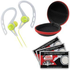 JVC HA-ECX20 Inner Ear Headphones - Green - with Case and 3 Microfiber Cloths