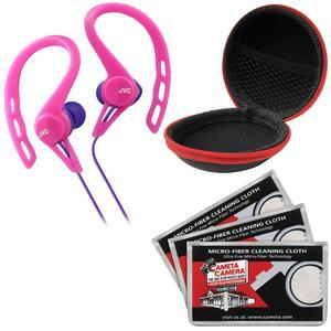 JVC HA-ECX20 Inner Ear Headphones - Pink - with Case and 3 Microfiber Cloths