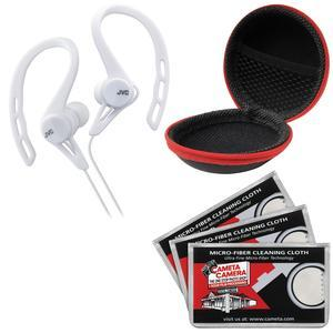 JVC HA-ECX20 Inner Ear Headphones - White - with Case and 3 Microfiber Cloths