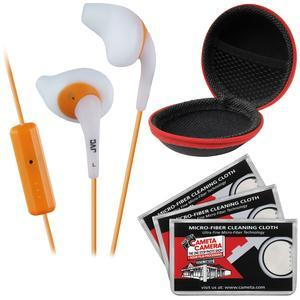 JVC HA-ENR15 Gumy Sport Headphones with Remote and Mic - White - with Case and 3 Microfiber Cloths