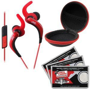 JVC HA-ETR40 Inner Ear Headphones with Remote and Mic - Red - with Case and 3 Microfiber Cloths