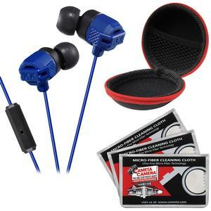 JVC HA-FR202 XTREME XPLOSIVES Inner Ear Headphones with Remote and Mic - Blue - with Case and 3 Microfiber Cloths
