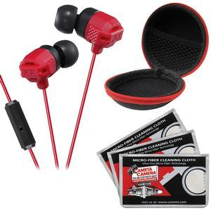 JVC HA-FR202 XTREME XPLOSIVES Inner Ear Headphones with Remote and Mic - Red - with Case and 3 Microfiber Cloths