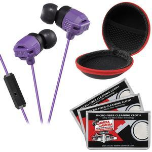 JVC HA-FR202 XTREME XPLOSIVES Inner Ear Headphones with Remote and Mic - Violet - with Case and 3 Microfiber Cloths