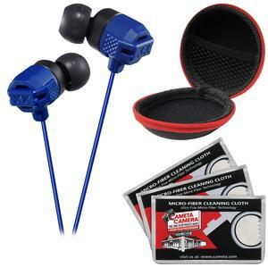 JVC HA-FX102 XTREME XPLOSIVES Inner Ear Headphones-Blue-with Case and 3 Microfiber Cloths