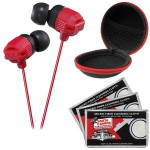JVC HA-FX102 XTREME XPLOSIVES Inner Ear Headphones-Red-with Case and 3 Microfiber Cloths