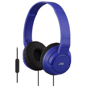 JVC HA-SR185 Lightweight Foldable Headphones with Remote - Blue -