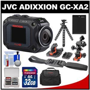 JVC GC-XA2 Adixxion Quad Proof Full HD Wi-Fi Digital Video Action Camera Camcorder with Flat Surface & Helmet Mounts + 32GB Card + Battery + Case + Tripod + Accessory Kit