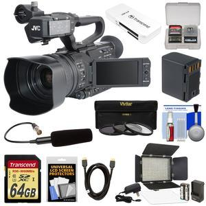 JVC GY-HM170U Ultra 4K HD 4KCAM Professional Camcorder & Top Handle Audio Unit with XLR Microphone + 64GB Card + Battery + LED Video Light + HDMI Cable + Reader + Kit