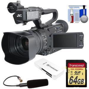 JVC GY-HM200U Ultra 4K HD 4KCAM Professional Camcorder & Top Handle Audio Unit with XLR Microphone + 64GB Card + Reader + Kit