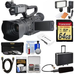 JVC GY-HM200U Ultra 4K HD 4KCAM Professional Camcorder & Top Handle Audio Unit with XLR Microphone + 64GB Card + Hard Case + LED Video Light + HDMI Cable + Kit