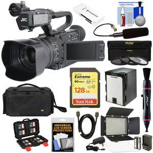 JVC GY-HM200U Ultra 4K HD 4KCAM Professional Camcorder & Top Handle Audio Unit with XLR Microphone + 128GB Card + Battery + Case + LED Video Light + Kit