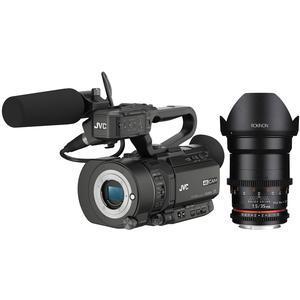 JVC GY-LS300CHU Ultra 4K HD 4KCAM Super 35 Pro Camcorder & Mic Top Handle Audio Unit with Rokinon 35mm T/1.5 DS Cine Lens