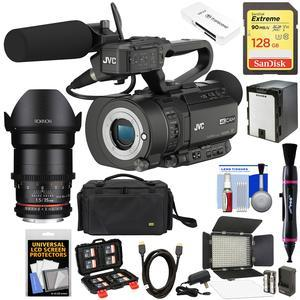 JVC GY-LS300CHU Ultra 4K HD 4KCAM Super 35 Pro Camcorder & Mic Top Handle Audio Unit with 35mm T/1.5 DS CINE Lens + 128GB Card + Battery + Case + LED Video Light + Kit
