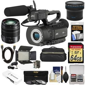 JVC GY-LS300CHU Ultra 4K HD 4KCAM Super 35 Pro Camcorder & Mic Top Handle Audio Unit with Panasonic 14-140mm MFT Lens + 64GB Card + Case + LED Video Light + Fisheye Lens + Kit