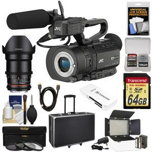 JVC GY-LS300CHU Ultra 4K HD 4KCAM Super 35 Pro Camcorder & Mic Top Handle Audio Unit with Rokinon 35mm T/1.5 DS CINE Lens + 64GB Card + Hard Case + Video Light + Filters + Kit
