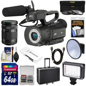 JVC GY-LS300CHU Ultra 4K HD 4KCAM Super 35 Pro Camcorder & Mic Top Handle Audio Unit with 40-150mm Zoom Lens + 64GB Card + Hard Case + LED Video Light + Filters + Kit