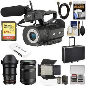 JVC GY-LS300CHU Ultra 4K HD 4KCAM Super 35 Pro Camcorder & Mic Top Handle Audio Unit with 35mm CINE & 40-150mm Lens + 128GB Card + Hard Case + LED Video Light + Filters + Kit
