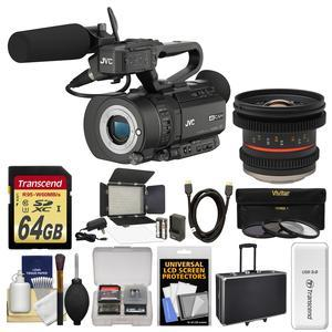 JVC GY-LS300CHU Ultra 4K HD 4KCAM Super 35 Pro Camcorder & Mic Top Handle Audio Unit with 12mm T/2.2 Lens + 64GB Card + Case + Video Light + 3 UV/CPL/ND8 Filters + Kit
