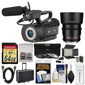 JVC GY-LS300CHU Ultra 4K HD 4KCAM Super 35 Pro Camcorder & Mic Top Handle Audio Unit with 85mm T/1.5 Lens + 64GB Card + Case + Video Light + 3 UV/CPL/ND8 Filters + Kit