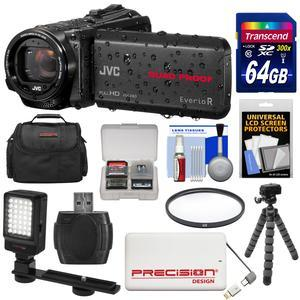 JVC Everio GZ-R440 Quad Proof Full HD Digital Video Camera Camcorder - Black - with 64GB Card + 5000mAh Power Bank + Case + Flex Tripod + Filter + LED Video Light + Kit