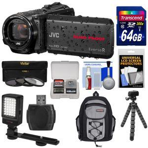 JVC Everio GZ-R440 Quad Proof Full HD Digital Video Camera Camcorder - Black - with 64GB Card + Backpack + Flex Tripod + 3 UV-CPL-ND8 Filters + LED Video Light + Kit