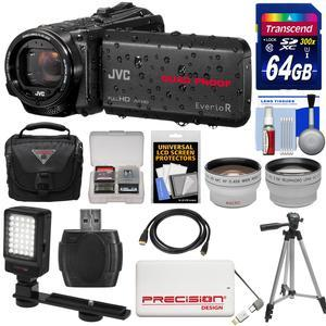 JVC Everio GZ-R440 Quad Proof Full HD Digital Video Camera Camcorder - Black - with 64GB Card + Case + 5000mAh Power Bank + Tripod + LED Light + Tele-Wide Lenses + Kit