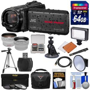 JVC Everio GZ-R440 Quad Proof Full HD Digital Video Camera Camcorder - Black - with 64GB Card + Suction Cup Mount + Case + LED + 3 Filters + Tripod + Tele-Wide Lens Kit