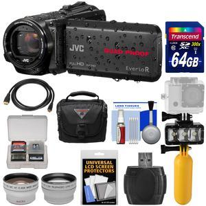 JVC Everio GZ-R440 Quad Proof Full HD Digital Video Camera Camcorder - Black - with 64GB Card + Diving LED Light + Buoy Handle + Case + Telephoto and Wide-Angle Lens Kit