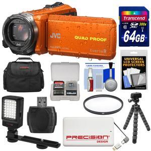 JVC Everio GZ-R440 Quad Proof Full HD Digital Video Camera Camcorder - Orange - with 64GB Card + 5000mAh Power Bank + Case + Flex Tripod + Filter + LED Video Light + Kit